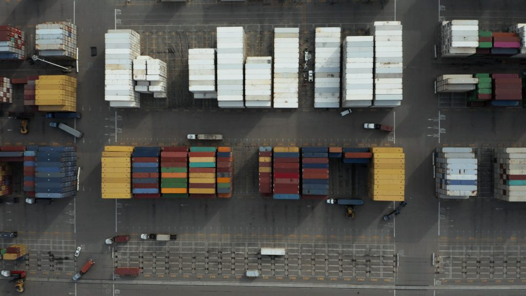 Containers waiting at port